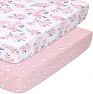 The Peanutshell Fitted Pack n Play, Playard, Mini Crib Sheets for Baby Girls | 2 Pack Set | Pink Roses and Floral