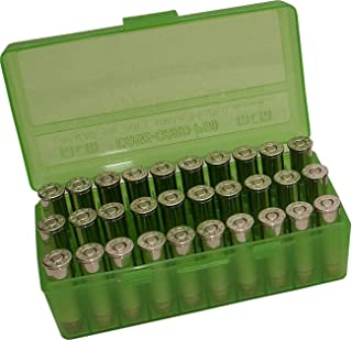 MTM Plastic Ammo Box, Clear Green 50 Round 38/357