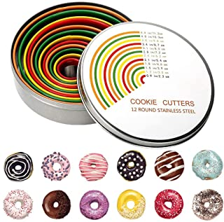 Round Cookie Biscuit Cutter Set,12 PCS Stainless Steel Cookie Cutter Set, Pastry Cutters in Graduated Sizes for Donut and ...