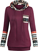 SUNGLORY Womens Hoodie,Women's Long Sleeve Pocket Color Block Pullover Tops Coffee