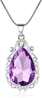 Vinjewelry Sofia Necklace Amulet Teardrop Amethyst Pendant Necklace Sofia Princess Costumes Jewelry for Little Girls
