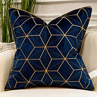 Avigers 18 x 18 Inches Navy Blue Gold Plaid Cushion Case Luxury European Throw Pillow..