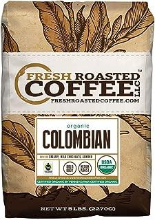 Fresh Roasted Coffee LLC, Colombian Sierra Nevada Coffee, USDA Organic, Fair Trade, Medium Roast, Whole Bean, 5 Pound Bag