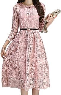 ELPIS レディース ファッション スリム 春 夏 レース ワンピース ドレス スカート 膝丈 スリーブ ラウンドネック 綿 各4色 S M L XL 2XL 3XL サイズ(ピンク,L)
