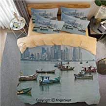 SfeatrutMAT Crystal Velvet Duvet Cover Set,Landscape,Anchored Fishing Boats Skyscrapers Panama Cityscape Pacific Coast Central America,4 Pieces Zippered Comforter Cover Set King,Khaki