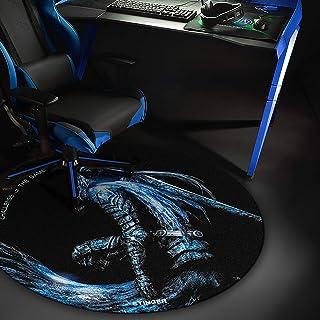 Woxter Stinger Floorpad Blue - Alfombrilla Gaming de Suelo, Tapete Protector para Suelo - Resistente al Agua, Lavable, 100% Microfibra, Diámetro 120 cm, Color Azul