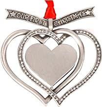 Liberty Pewter Our First Christmas Engravable Interlocking Hearts Ornament Austrian Crystals 3.25