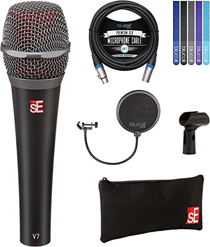 new arrival sE Electronics V7 Supercardioid Dynamic Microphone for Vocals and Instruments Bundle with online sale Blucoil 10-FT Balanced XLR Cable, Pop Filter Windscreen, and 5-Pack of Reusable Velcro Cable sale Ties online sale