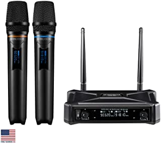 Wireless Microphone System, Professional Karaoke Microphone UHF Dual Channel Handheld Microphone, 200ft Range Receiver and...