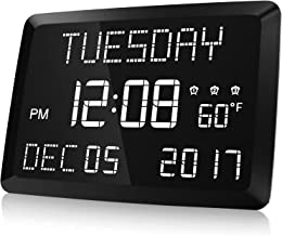 """Digital Clock, Raynic 11.5"""" Large LED Word Display Dimmable Digital Wall Clock,Adjustable Brightness Digital Alarm Clock with Day and Date,Indoor Temperature,Snooze,12/24H,DSTfor Home, Office,Elderly"""