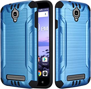 2Layer Slim Hybrid Brushed Rubber Case Cover For Coolpad Canvas 4G LTE 3636A/Splatter Phone (Blue)