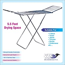 KTS Stainless Steel Foldable Cloth Stand for Drying Clothes | Cloth Drying Stand for Bedroom | Fold-able Space Saver Stand