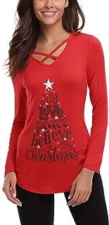 Womens Sexy Long Sleeve Christmas Letter Reindeer Print T-Shirt Tunic Tops