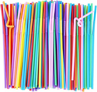 ALINK Flexible Plastic Drinking Straws, Extra Long Disposable Bendy Party Fancy Straws, Pack of 200