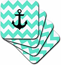 3dRose CST_180275_1 Mint & White Chevron Pattern with Black Anchor Soft Coaster (Set of 4)