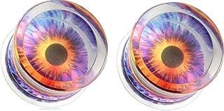 Earrings Eyeball Print Encased Clear Acrylic Saddle Fit Plug