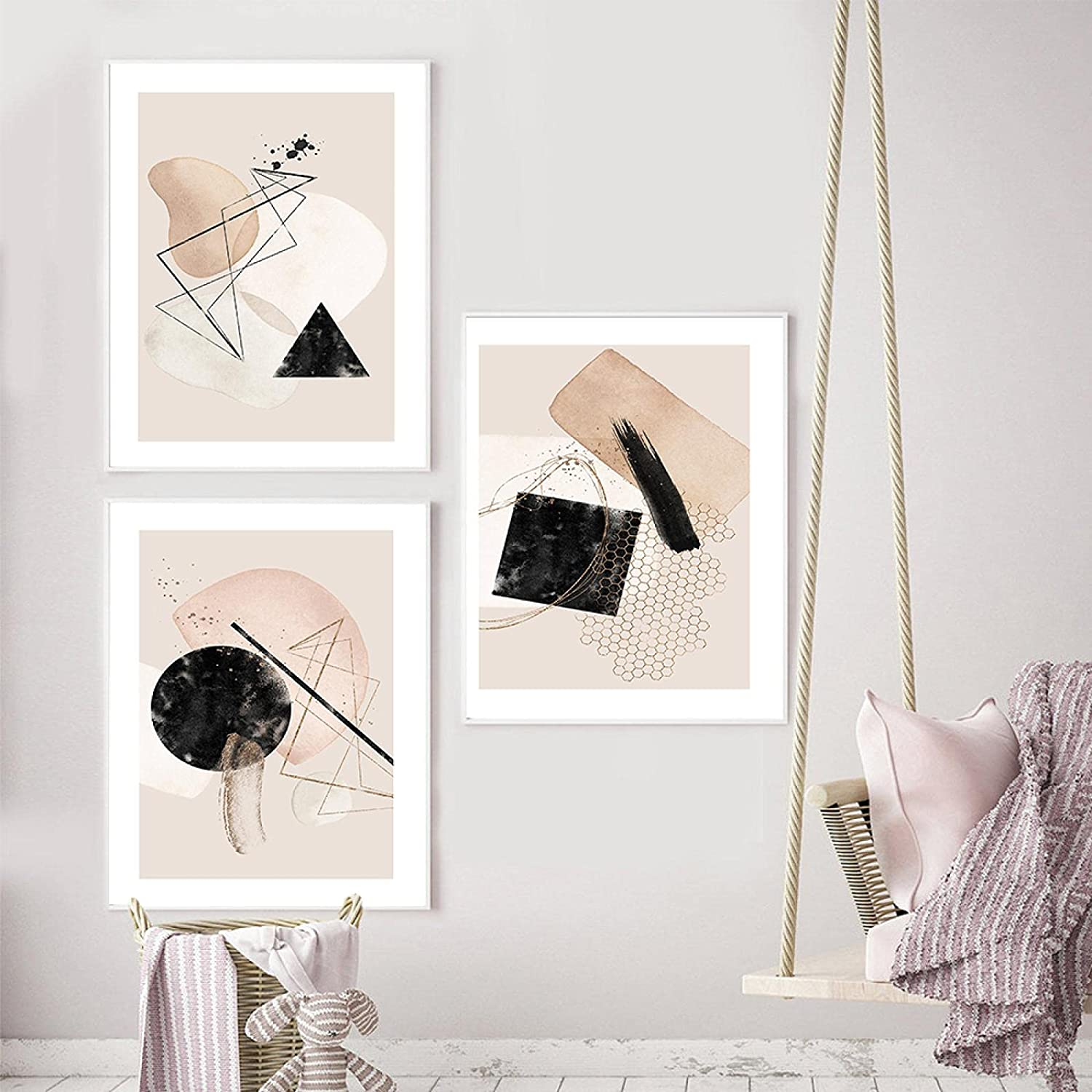 Online limited Baltimore Mall product Geometric Line Canvas Painting Abstract Natural Beige Bro Simple