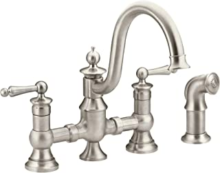 Moen S713SRS Waterhill Two-Handle Traditional Bridge Kitchen Faucet with Side Sprayer, Spot Resist Stainless