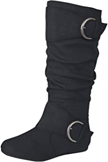 Best black flat mid calf slouch boots Reviews