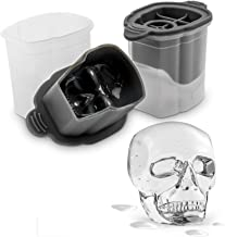 Tovolo Skull Ice Molds, Set of 2 Classic Whiskey Rocks Ice Molds, Stackable Ice Molds for Cocktails, Traditional-Style Whi...