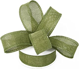 Burlap Ribbon Perfect for Wedding Home Decoration Gift Wrap Bows Made Handmade Art Crafts 1-1/2 Inch X 10 Yard Spool (Green)