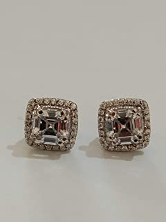 3 Ct Created White Asscher Cut Halo with Cubic Zirconia Womens Stud Earring 14k White Gold Plated