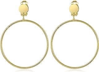 Clip on 2 Inch Large Big Hoop Minimalist Earrings