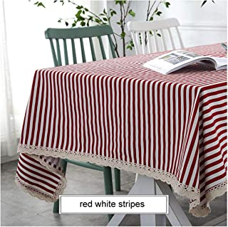Dining Table Cover Linen Tablecloth Print Decorative Kitchen Home,Red White Stripes,140X140Cm