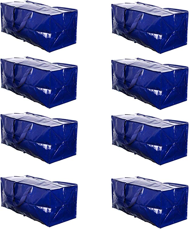 VENO Heavy Duty Extra Large Storage Bag Moving Tote Backpack Carrying Handles Zipper Compatible With IKEA Frakta Hand Carts Boxes Bin Made Of Recycled Material 8 Packs