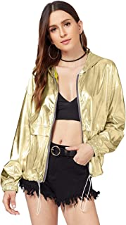 Women's Clubwear Jacket Long Sleeve Lightweight Zipper Metallic Hooded Crop Jacket Outwear