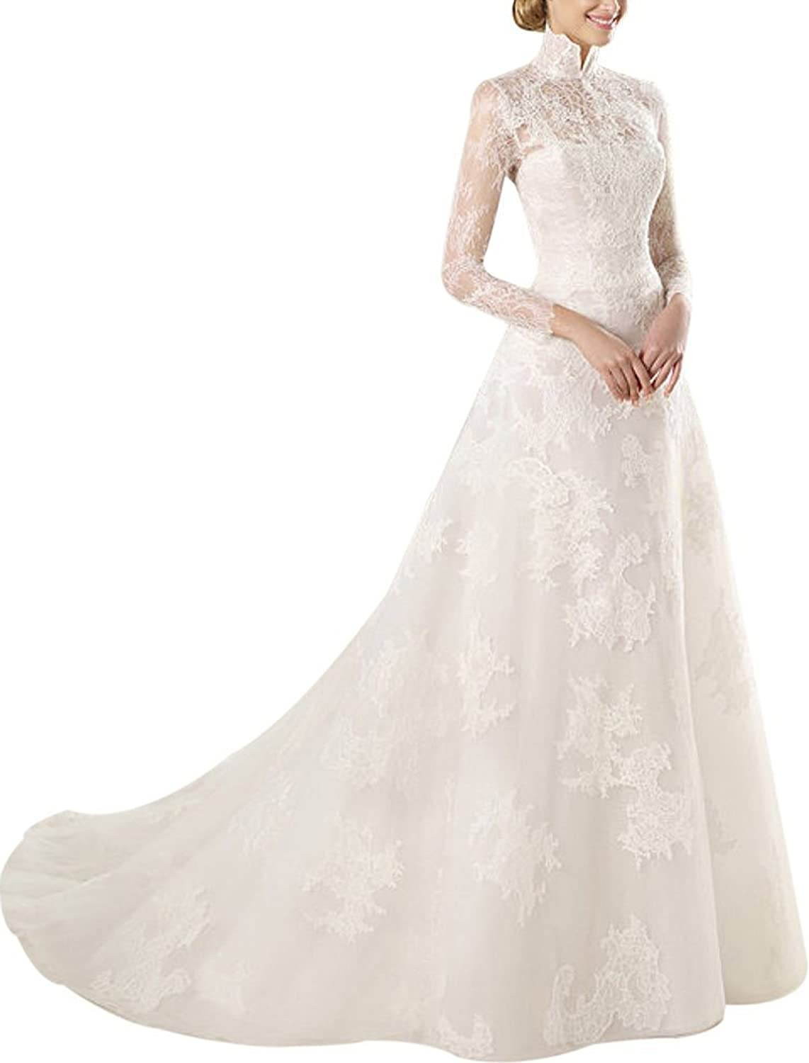 Ailimisi Neck White Long Lace Sleeves Beads Veil Train Wedding Dress Prom Gown