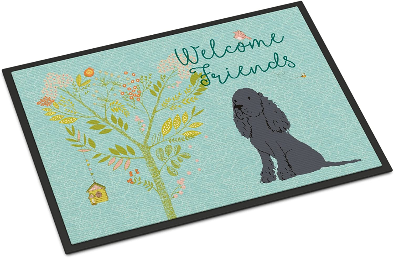 Caroline's Treasures Welcome Friends Black Cocker Spaniel Doormat, 24hx36w, Multicolor