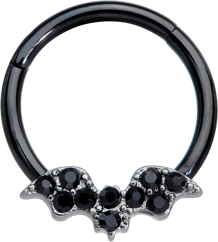 Body Candy 16G Black PVD Steel Hinged Segment Ring Seamless Cartilage Nipple Ring Black Bat Nose Hoop 3/8