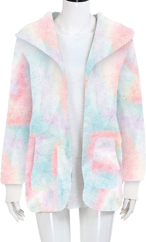 Lazzboy Wintermantel Damen Faux-fur Shaggy Langarm Open Front Outwear Hooded Jacket Revers Faux Für Lose Tasche Winterjacke Coat Mantel Damen Winter Rosa