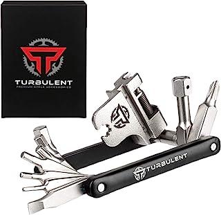 Turbulent Universal Bike Multitool - The Ultimate 17 in 1 Portable Sized Tool Kit with Chain Breaker, Allen Keys, Spoke To...