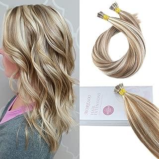 Moresoo 22 Inch Human Hair Extensions Remy Human Hair Tip Hair Extensions 1 G/S 50 Grams Per Pack Medium Brown #6 and Platinum Blonde #60 Natural Human Hair Itip Hair Extensions