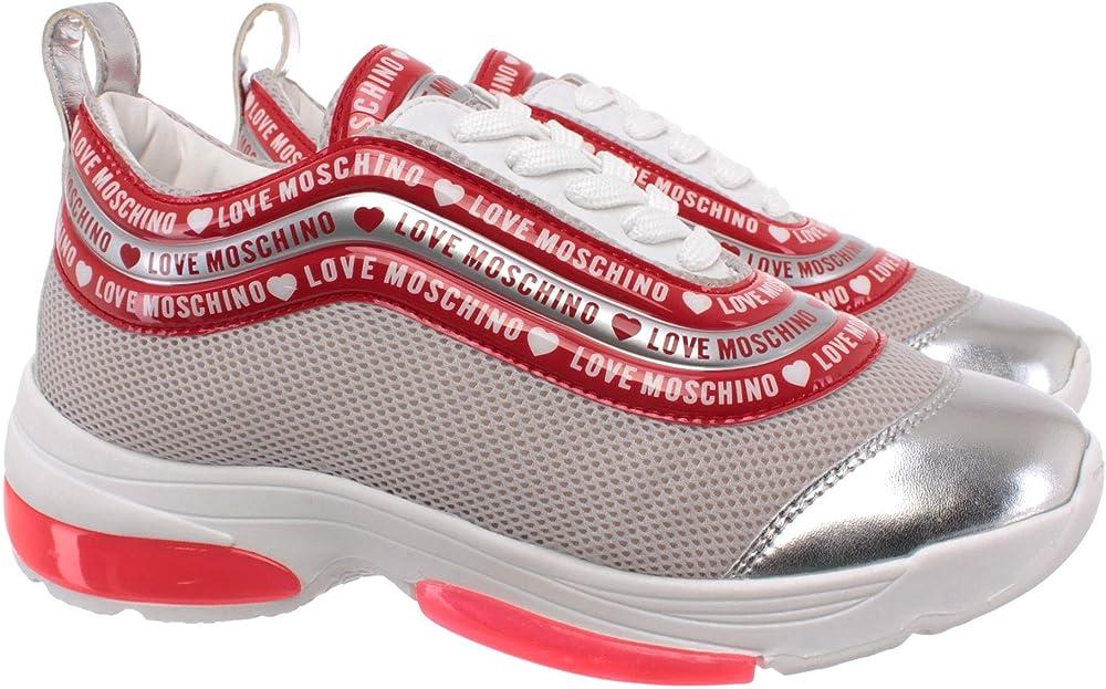 Love moschino,scarpe sneakers per  donna,in pelle sintetitica e tessuto JA15135G1AIP301A