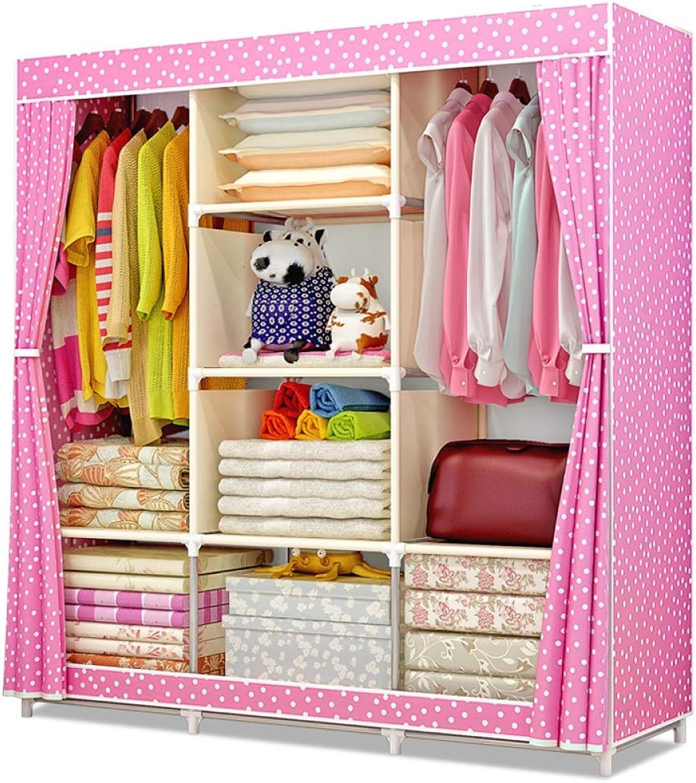 Simple wardrobe Portable Storage Organizer Wardrobe Closet & shoes Rack, Metal Frame, 167 X 105 X 43CM (color   A)