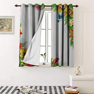 shenglv Hummingbirds Decor Curtains by Tropical Flowers and Leaves Natural Foliage Vibrant Color Exotic Rainforest Curtains Girls Bedroom W63 x L63 Inch Multicolor