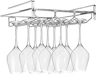 FANGSUN Adjustable Wine Glass Rack, Storage Stemware Holder Under Shelf 3 Rows Organizer Hanging Shelf for Bar Kitchen