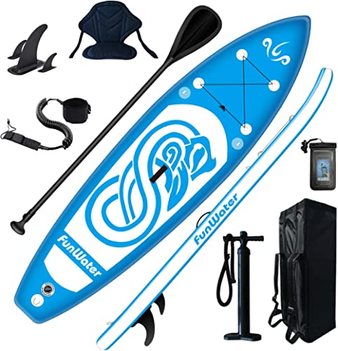 FunWater Stand Up Paddle Board 10'x31''x6'' Ultra-Light (17lbs) Inflatable Paddleboard with ISUP Accessories,Fins,Adj...