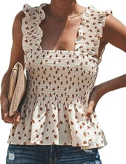 CILKOO Women's Frill Smocked Crop Tank Top Tie Shoulder Strap Vest(S-XXL) - - X-Large