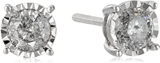 14k Round Diamond White Gold Miracle Stud Earrings (J-K Color, I2-I3 Clarity)