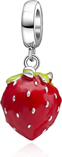 Red Strawberry Charms 925 Sterling Silver Fruit Charms Fits European Bracelet
