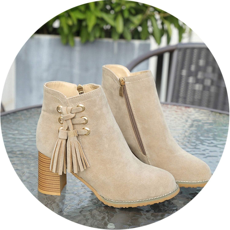 Winter Boots Women Round Toe High Heel shoes Tassel Suede Martin s Zipper Botas women,Khaki,37,