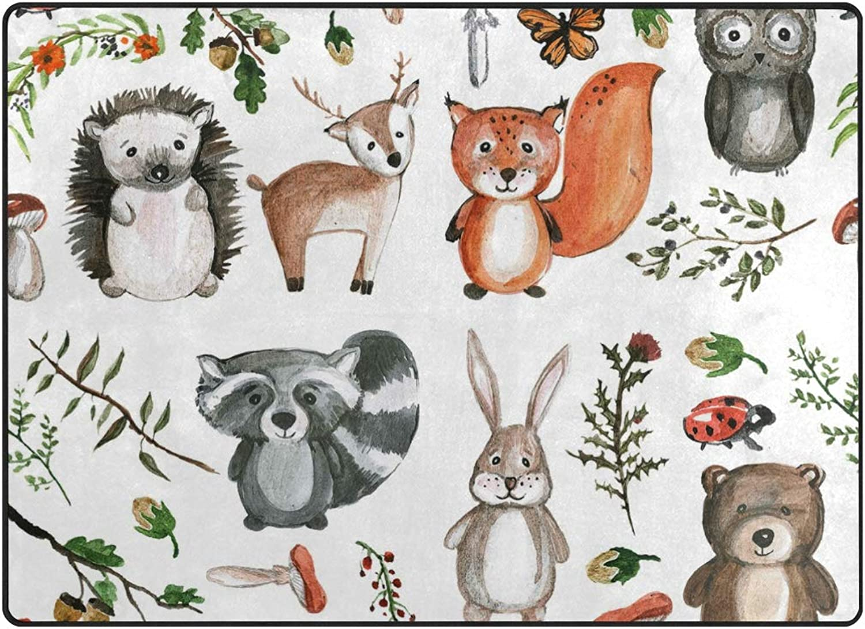 Vantaso Soft Foam Nursery Rugs Cute Woodland Animals Non Slip Play Mats for Kids Boys Girls Playing Room Living Room 63x48 inch
