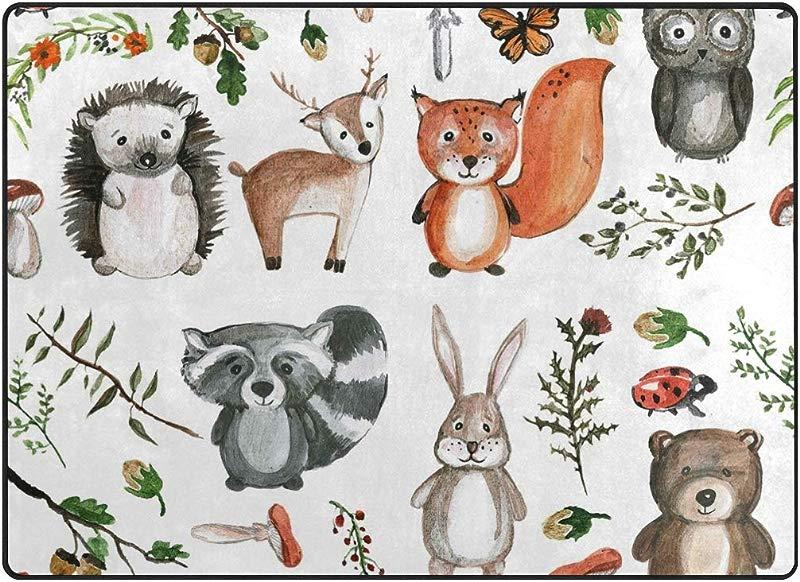 Vantaso Soft Foam Area Rugs Cute Woodland Animals Non Slip Play Mats For Kids Boys Girls Playing Room Living Room 80x58 Inch
