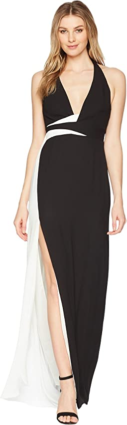 Sleeveless V-Neck Gown w/ Contrast Sash
