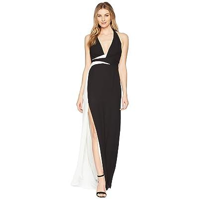 Halston Heritage Sleeveless V-Neck Gown w/ Contrast Sash (Black/Chalk) Women