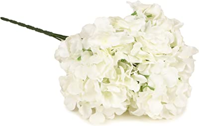 TIED RIBBONS French Hydrangea Artificial Flower Bunches for Living Room, Home,Table, Office, Vase Decoration (White)